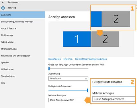 Freebee - Windows 10 Bildschirmeinstellungen